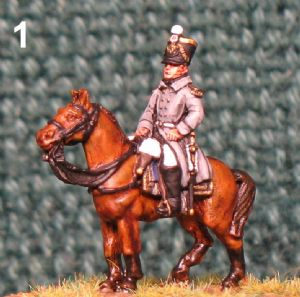 15mm, Napoleonic Mounted Infantry Officer Great Coat AB Figure